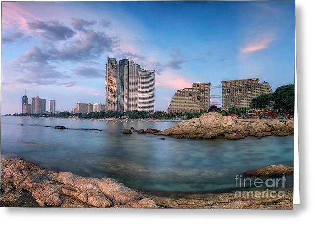 Pattaya City Beach Greeting Card by Anek Suwannaphoom