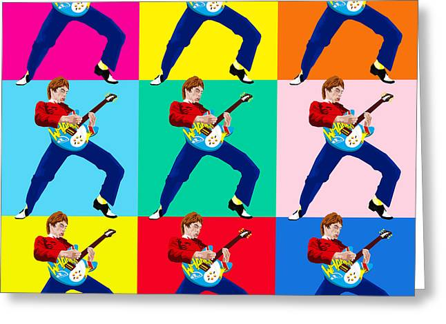 Mascots Drawings Greeting Cards - Paul Weller Wham Greeting Card by Neil Finnemore