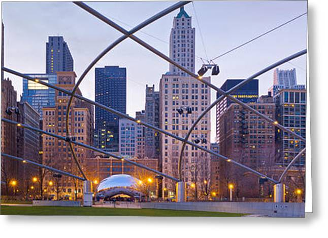 The Bean Greeting Cards - Pavilion and Cloud Gate Greeting Card by Kevin Eatinger