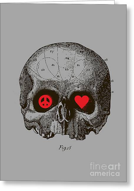 Skull Digital Art Greeting Cards - Peace and Love Greeting Card by Budi Satria Kwan