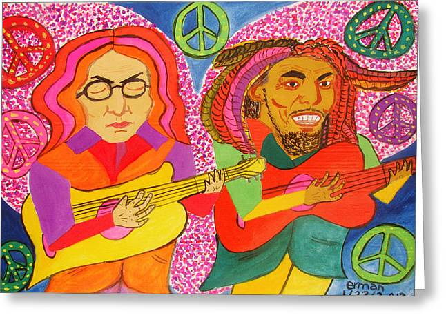 John Marley Greeting Cards - Peace And One Love Greeting Card by Erman Selibio