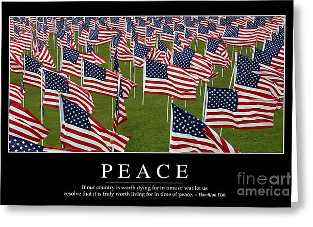 United We Stand Greeting Cards - Peace Inspirational Quote Greeting Card by Stocktrek Images