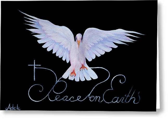 Peace Doves Greeting Cards - Peace on Earth Greeting Card by Adele Moscaritolo