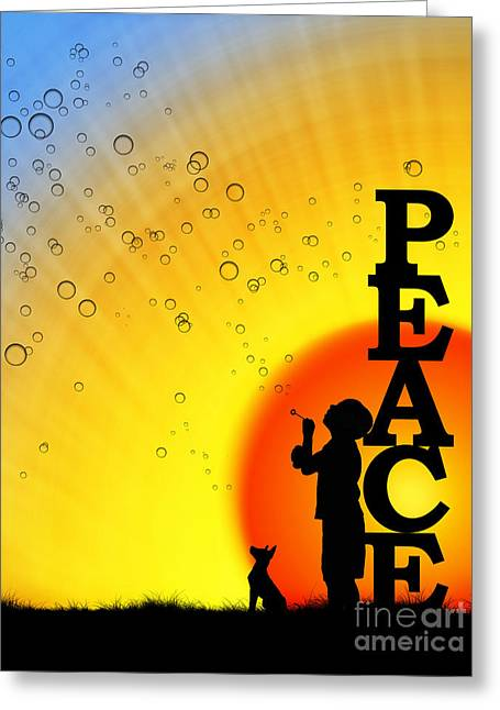 Happy Child Greeting Cards - Peace Greeting Card by Tim Gainey