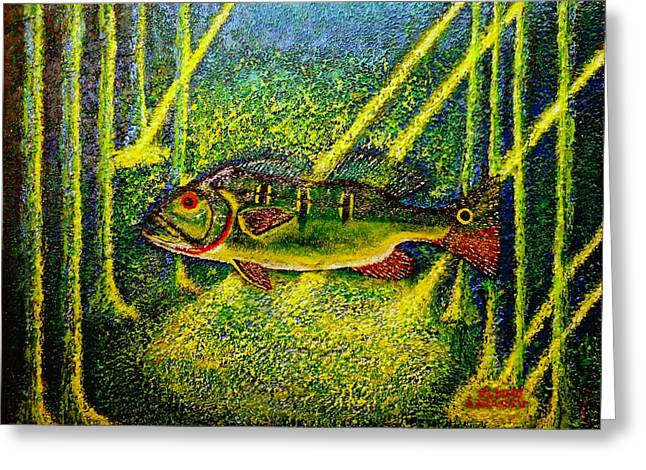 Sun Rays Paintings Greeting Cards - Peacock bass.Sculpture. Greeting Card by Viktor Lazarev