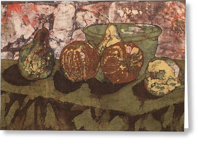 Pear Tapestries - Textiles Greeting Cards - Pears and Apples Batik Greeting Card by John and Lisa Strazza