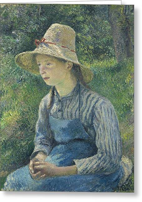 Peasant Girl With A Straw Hat Greeting Card by Camille Pissarro