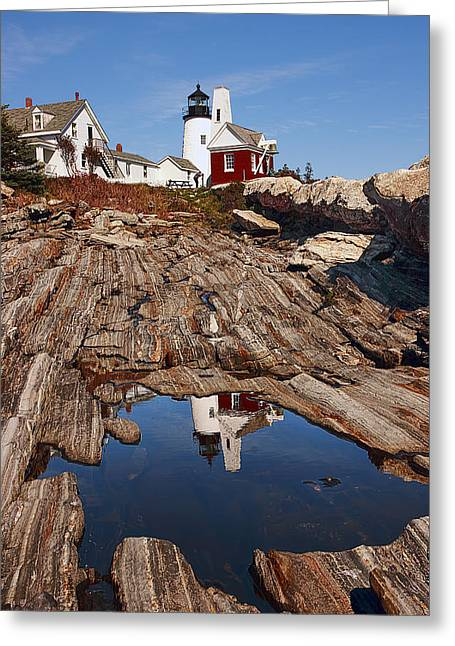 Maine Lighthouses Greeting Cards - Pemaquid Point Lighthouse Greeting Card by Marcia Colelli
