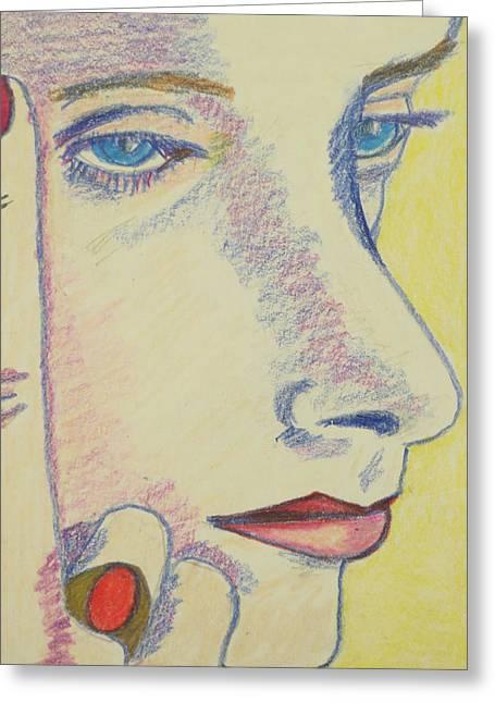 Pensive Drawings Greeting Cards - Penny Greeting Card by Manuel Matas