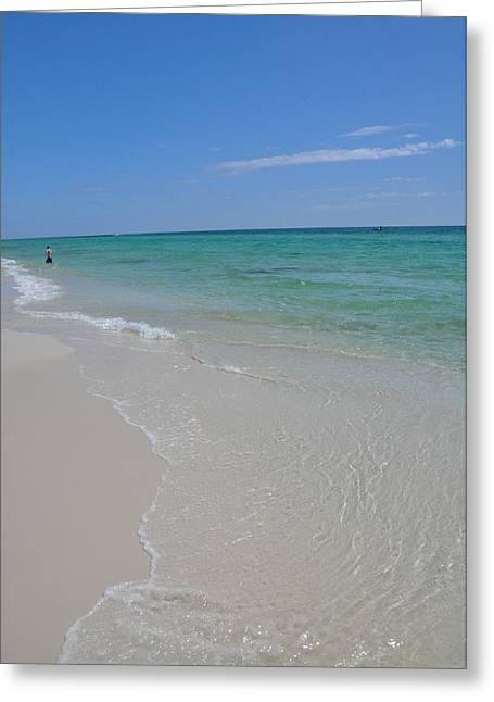 Blue Green Wave Greeting Cards - Pensacola Beach Greeting Card by Vonda Barnett