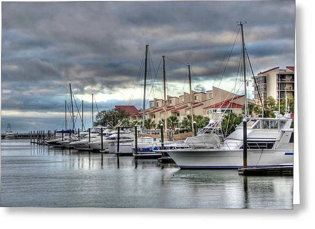 Docked Boat Pyrography Greeting Cards - Pensacola Harbor Greeting Card by David Troxel