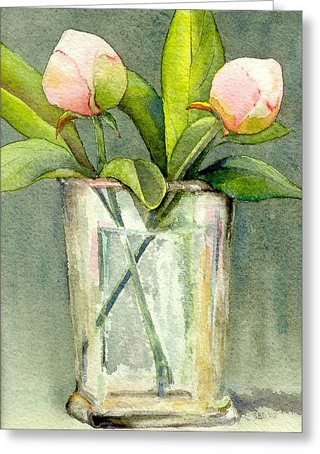 Recently Sold -  - Flower Still Life Prints Greeting Cards - Peonies in a Vase Greeting Card by Sarah Buell  Dowling
