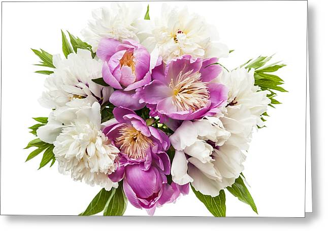 From Above Greeting Cards - Peony flower bouquet  Greeting Card by Elena Elisseeva