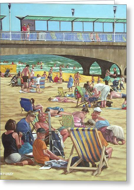 people on Bournemouth beach Greeting Card by Martin Davey