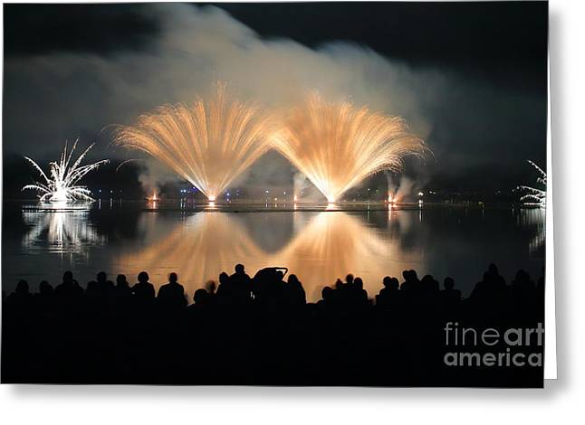 Pyrotechnics Greeting Cards - People watch Fireworks Display Greeting Card by Gregory DUBUS