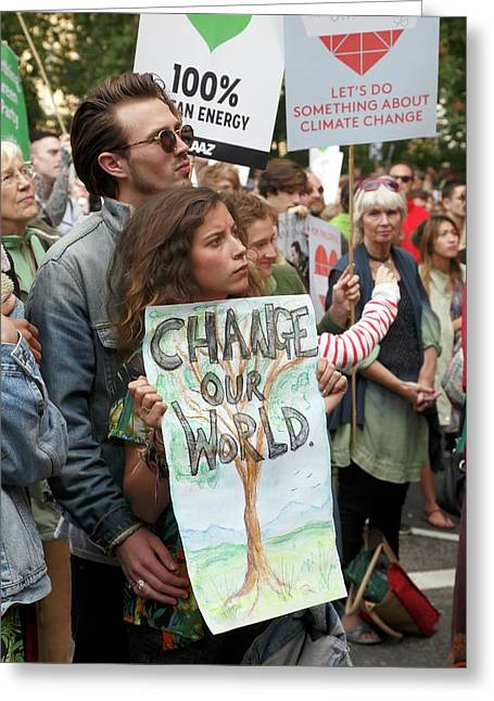 People's Climate March Greeting Card by Victor De Schwanberg