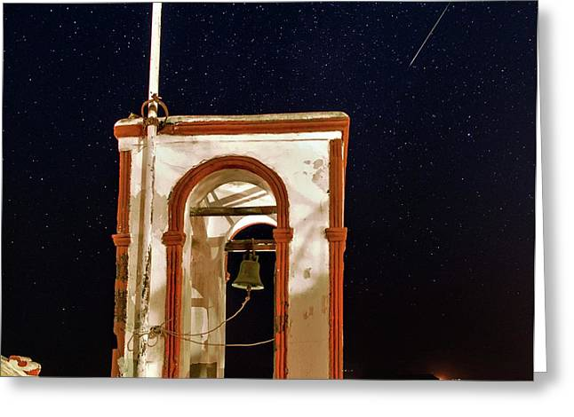 Perseid Meteor Track Over Santorini Greeting Card by Babak Tafreshi