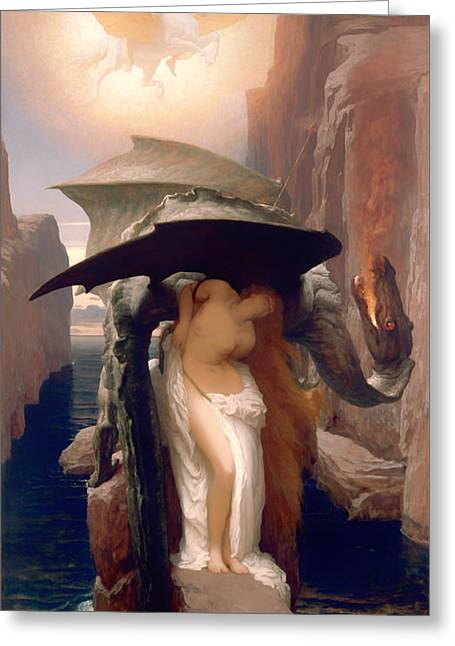 Fabled Greeting Cards - Perseus and Andromeda  Greeting Card by Frederic Leighton