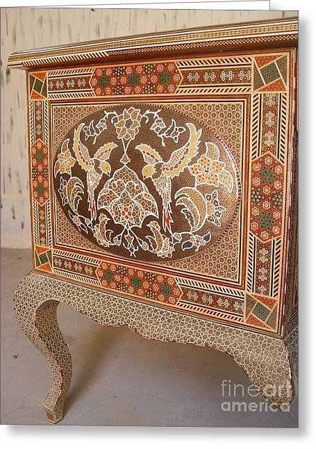 Table Sculptures Greeting Cards - Persian Inlaid Wooden Table Greeting Card by Persian Art