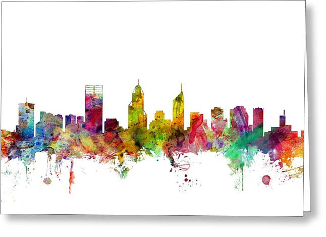 Australia Digital Art Greeting Cards - Perth Australia Skyline Greeting Card by Michael Tompsett