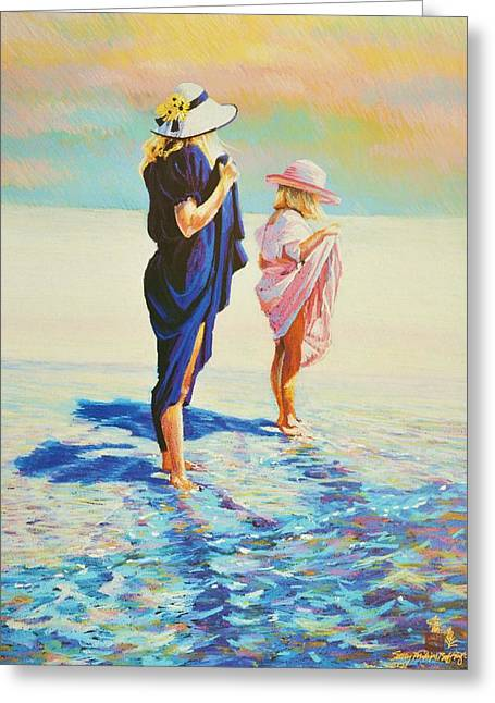 Alabama Pastels Greeting Cards - Perusing The Beach After Dinner Greeting Card by Sally Buffington