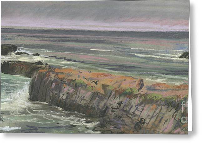 Beaches Drawings Greeting Cards - Pescadero Beach Greeting Card by Donald Maier