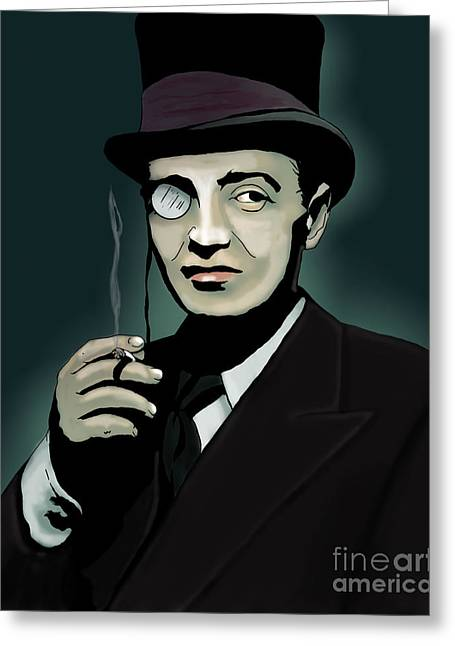 Lorre Greeting Cards - Peter Lorre as The Penguin Greeting Card by Seamus Corbett