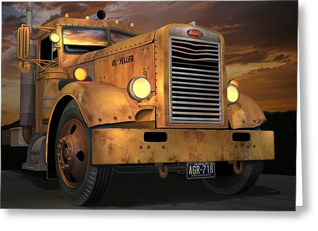 Old Trucks Greeting Cards - Peterbilt Ol Yeller Greeting Card by Stuart Swartz