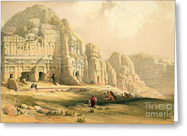 Rose Red City Greeting Cards - Petra Greeting Card by David Roberts