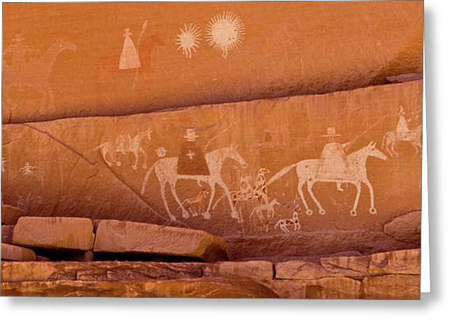 Petroglyphs On Sandstone, Canyon De Greeting Card by Panoramic Images