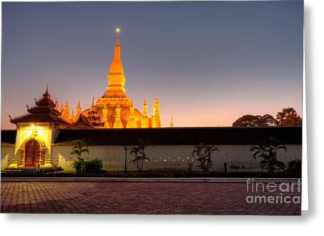 Developing Countries Greeting Cards - Pha That Luang stupa in Vientiane Laos Greeting Card by Fototrav Print
