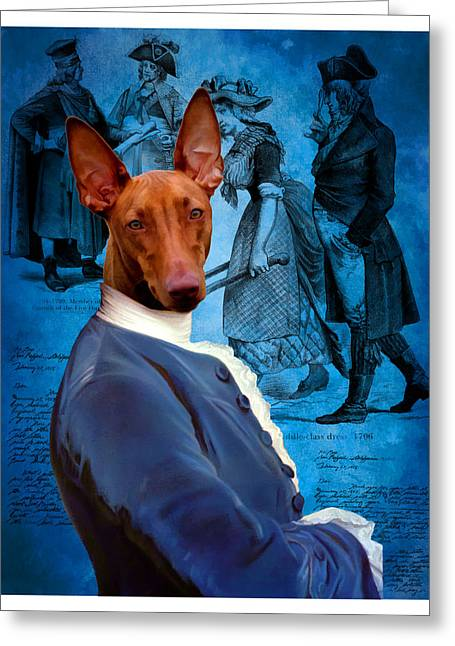 Pharaoh Greeting Cards - Pharaoh Hound Art Canvas Print Greeting Card by Sandra Sij