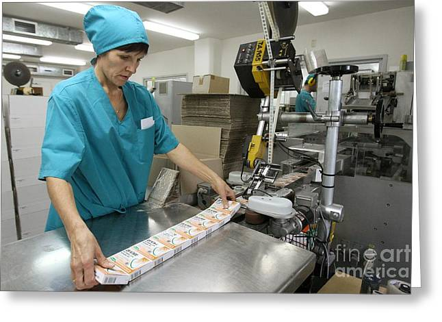Manufacturing Greeting Cards - Pharmaceutical Company Greeting Card by Ria Novosti