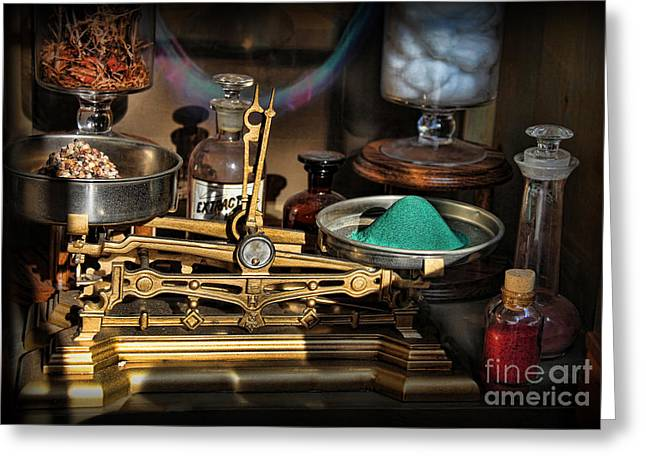 Tincture Greeting Cards - Pharmacist - Apothecary Scale Greeting Card by Lee Dos Santos