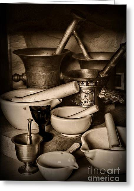Old Grinders Greeting Cards - Pharmacy - Mortars and Pestles - black and white Greeting Card by Paul Ward