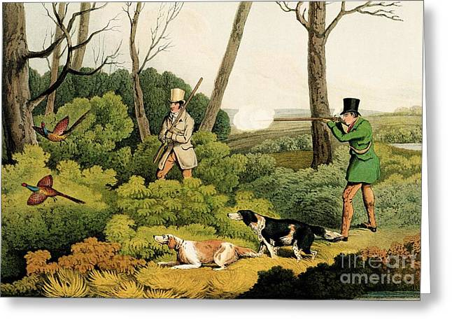 Shoot Greeting Cards - Pheasant Shooting Greeting Card by Henry Thomas Alken