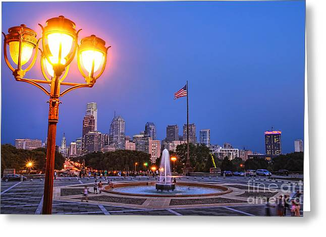 American Art Museum Greeting Cards - Philadelphia at Dusk Greeting Card by Olivier Le Queinec