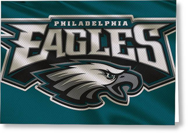 Uniformed Greeting Cards - Philadelphia Eagles Uniform Greeting Card by Joe Hamilton