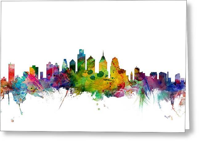 Philadelphia Greeting Cards - Philadelphia Pennsylvania Skyline Greeting Card by Michael Tompsett