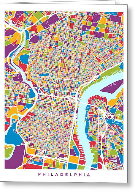 Street Maps Greeting Cards - Philadelphia Pennsylvania Street Map Greeting Card by Michael Tompsett