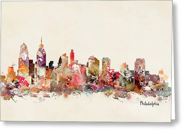 Philadelphia Paintings Greeting Cards - Philadelphia Skyline Greeting Card by Bri Buckley