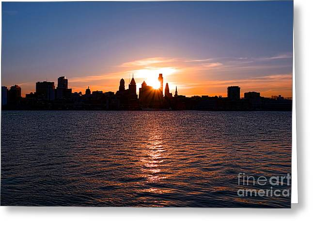 Phila Greeting Cards - Philadelphia Sunset Greeting Card by Olivier Le Queinec