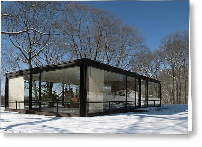 Connecticut Winter Greeting Cards - Philip Johnsons Glass House Greeting Card by Carol M Highsmith