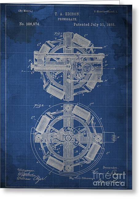 Edison Greeting Cards - Phonograph Edison Patent Blueprint 1 Greeting Card by Pablo Franchi