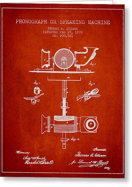 Edison Greeting Cards - Phonograph or speaking machine patent Drawing from 1878 Greeting Card by Aged Pixel