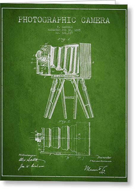 Famous Photographers Greeting Cards - Photographic Camera Patent Drawing from 1885 Greeting Card by Aged Pixel