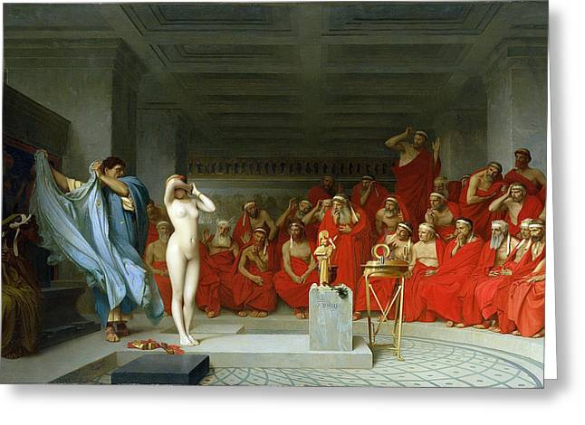 Gerome Greeting Cards - Phryne before the Areopagus Greeting Card by Jean-Leon Gerome
