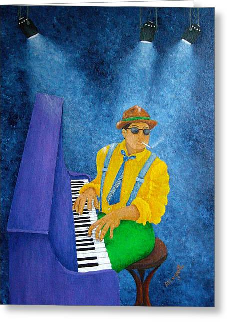 Pam Franz Greeting Cards - Piano Man Greeting Card by Pamela Allegretto
