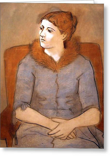 Picasso's Madame Picasso Greeting Card by Cora Wandel