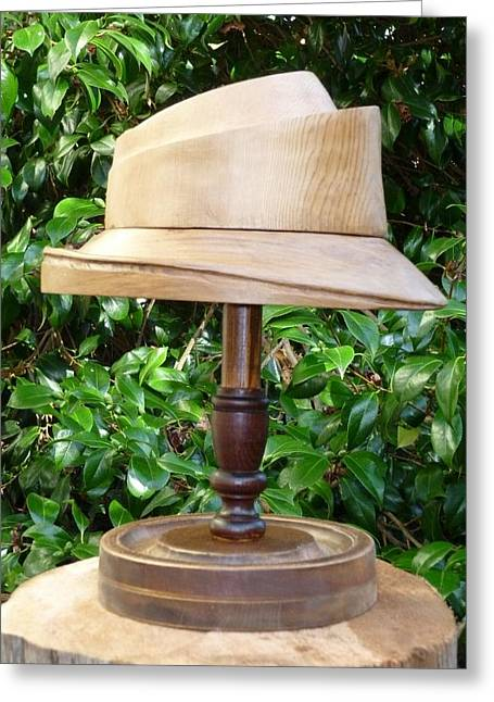Crown Sculptures Greeting Cards - 2 piece hat block. Swirl with brim Greeting Card by Roger Friesen